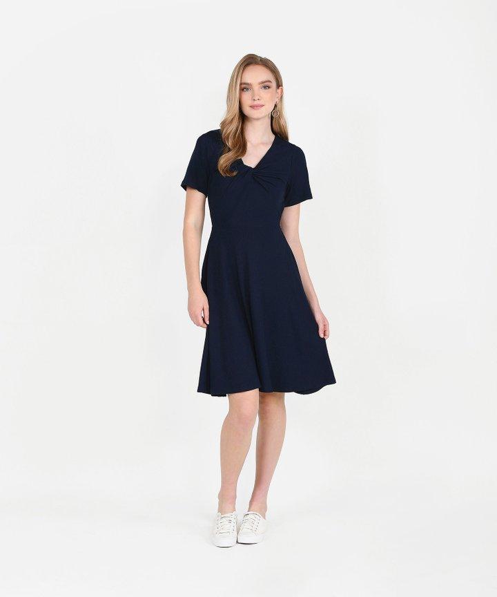 Lucia Knit Midi Dress - Midnight Blue