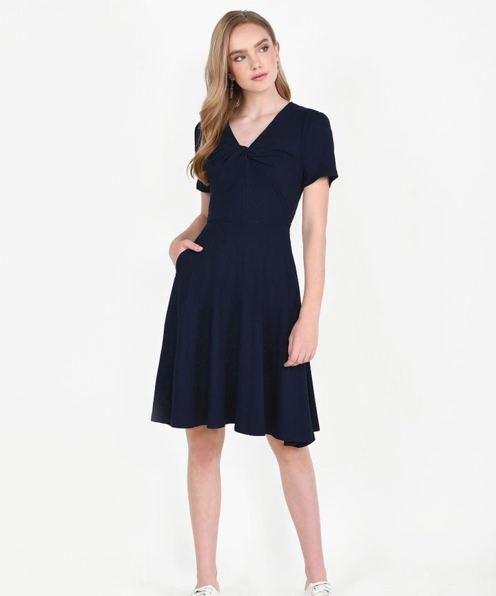 Lucia Knit Midi Dress - Midnight Blue