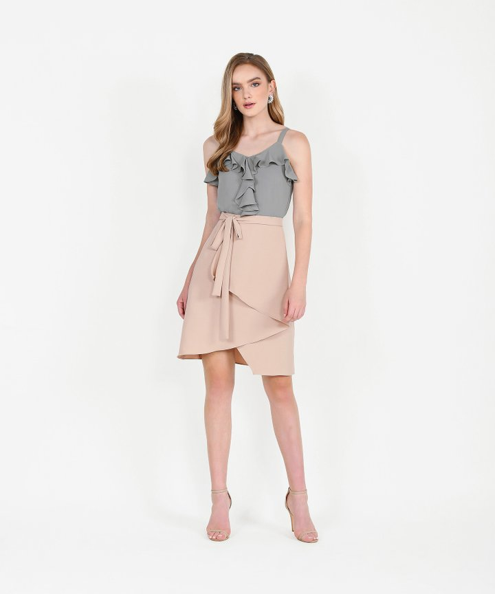 Dorset Asymmetrical Tiered Skirt - Pale Nude