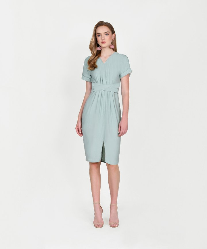 Sydney Belted Midi Dress - Pale Seafoam