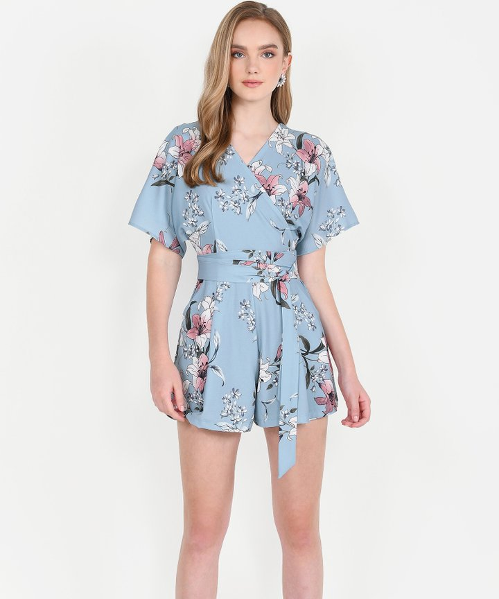 Imari Floral Kimono Playsuit - Pale Blue