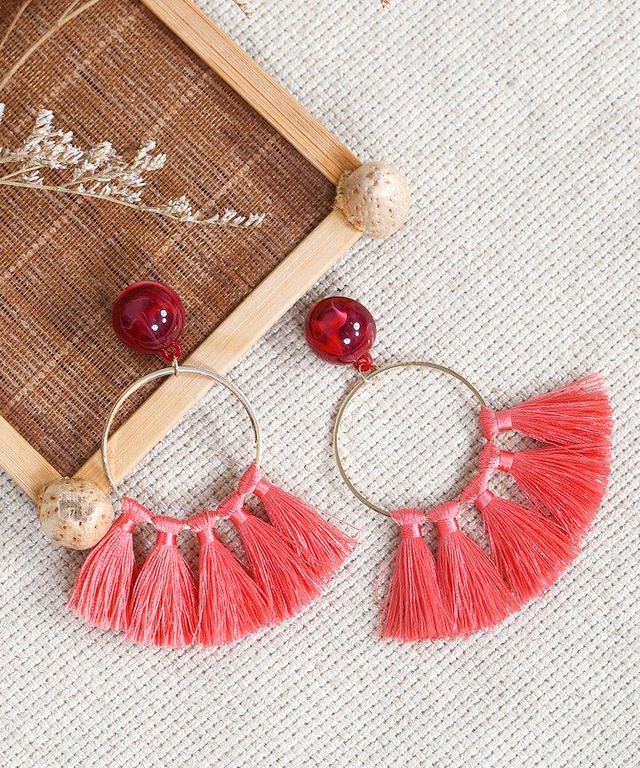 Innika Tassel Earrings - Coral