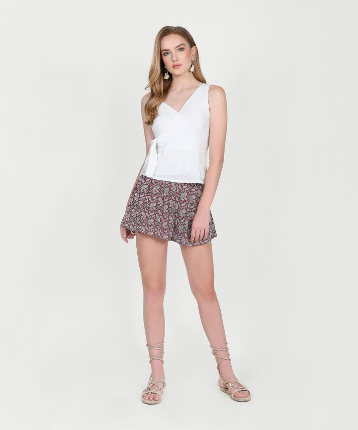 Anthea Paisley Shorts - Wine