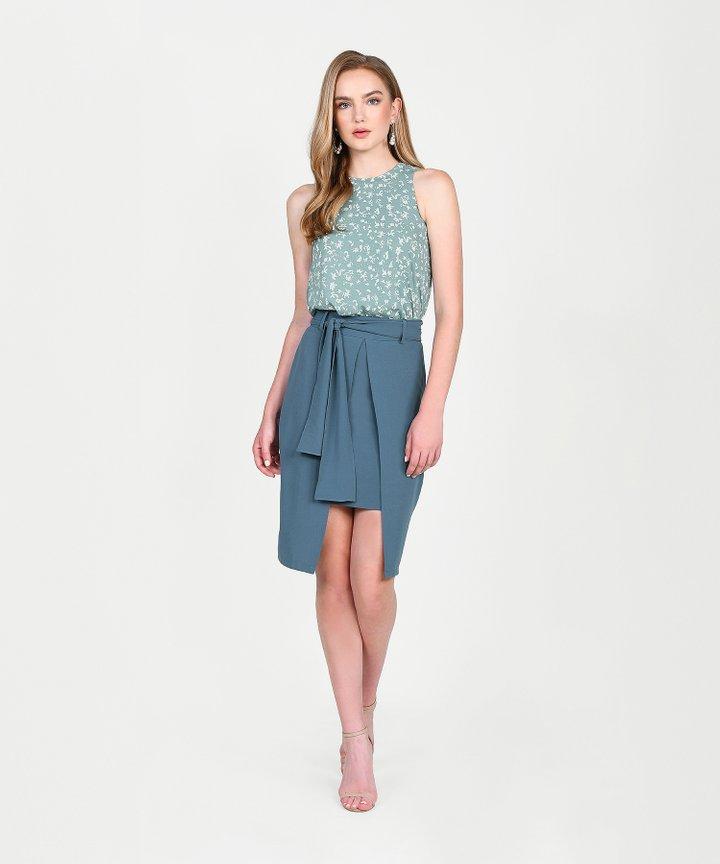 Philosophy Asymmetric Skirt - Dust Teal