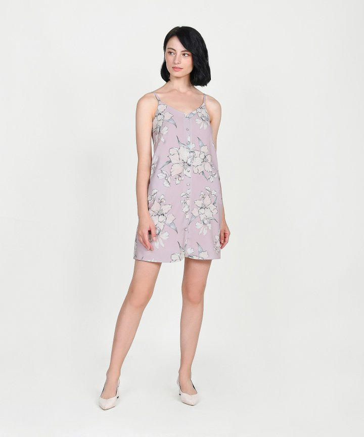 Ipanema Floral Slip Dress - Pale Lavender