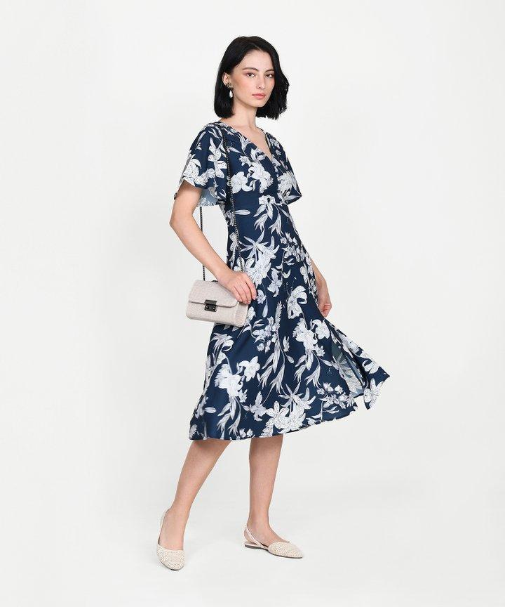 Antoinette Floral Midi - Navy
