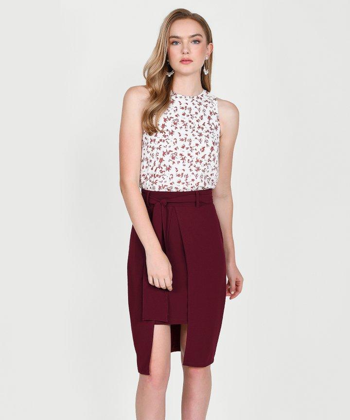 Philosophy Asymmetric Skirt - Maroon