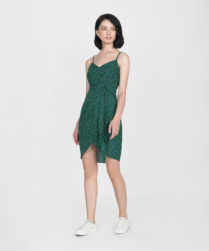 Sierra Polka Dot Dress - Forest Green