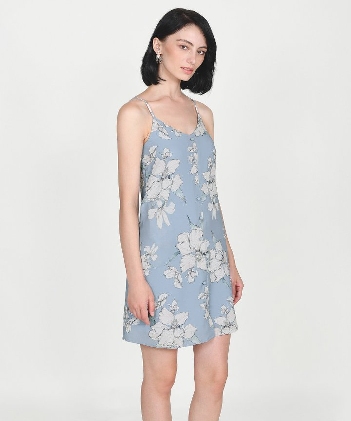 Ipanema Floral Slip Dress - Sky Blue