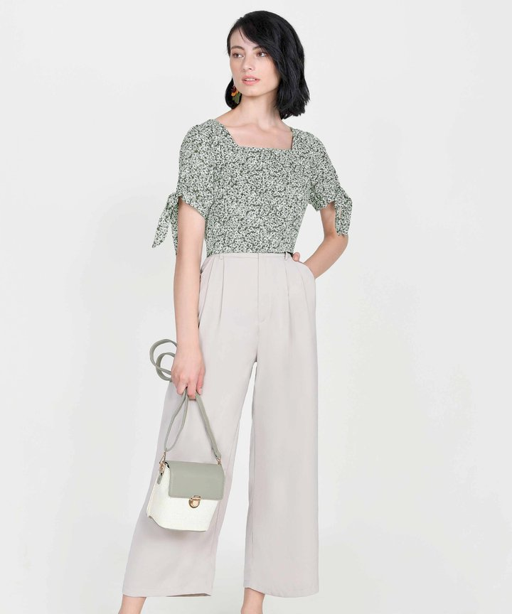 Toscana Floral Cropped Top - Olive