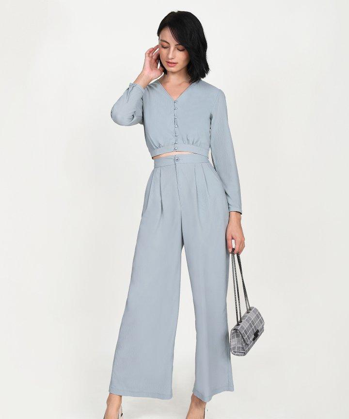 Yuri Cropped Blouse - Mist Blue