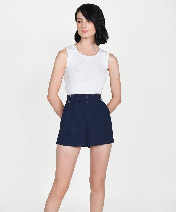 Viola Buckle Shorts - Midnight Blue