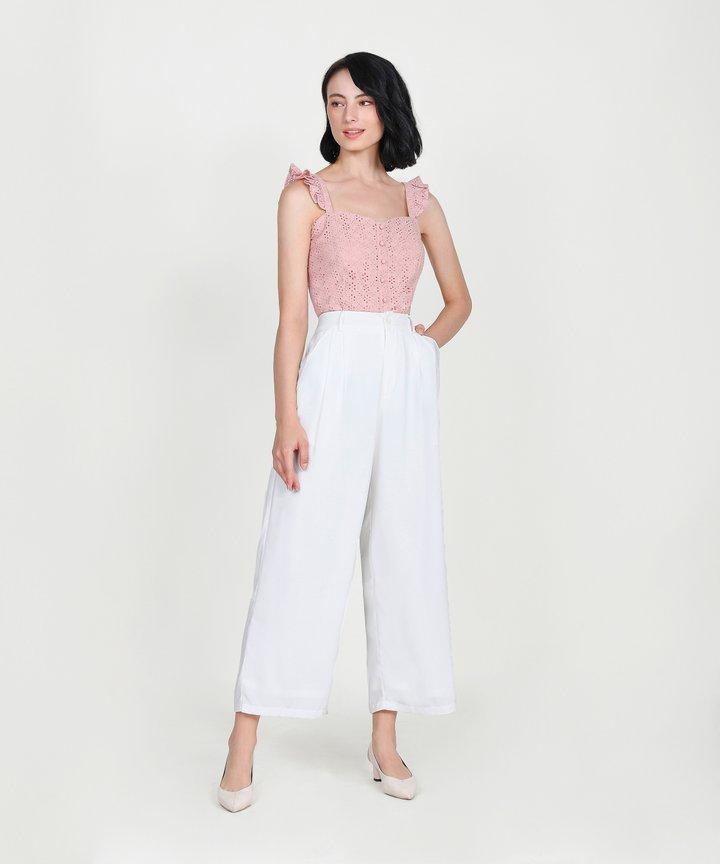 Willa Eyelet Ruffle Top - Blush Pink