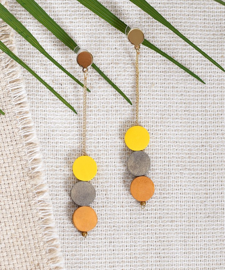 Lou Colourblock Drop Earrings - Yellow