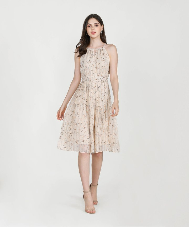 Iman Floral Pleated Midi - Cream