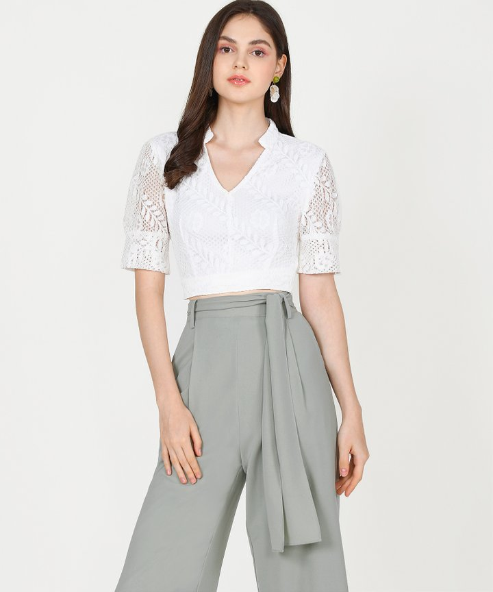 Tallulah Lace Cropped Top - White