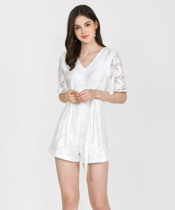 Anisse Lace Playsuit - White (Restock)