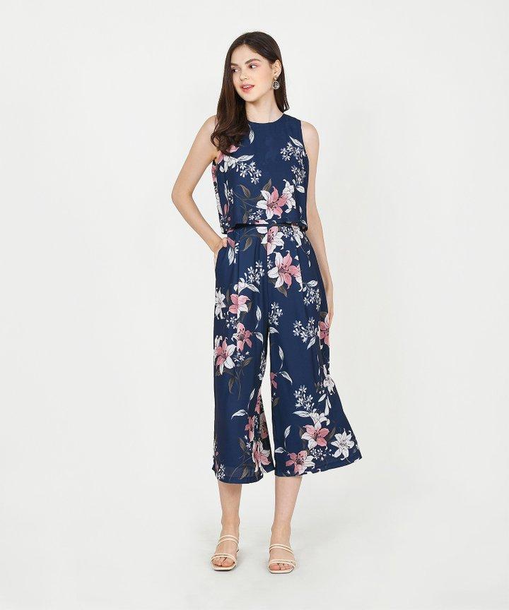 Augustine Floral Culotte Jumpsuit - Navy