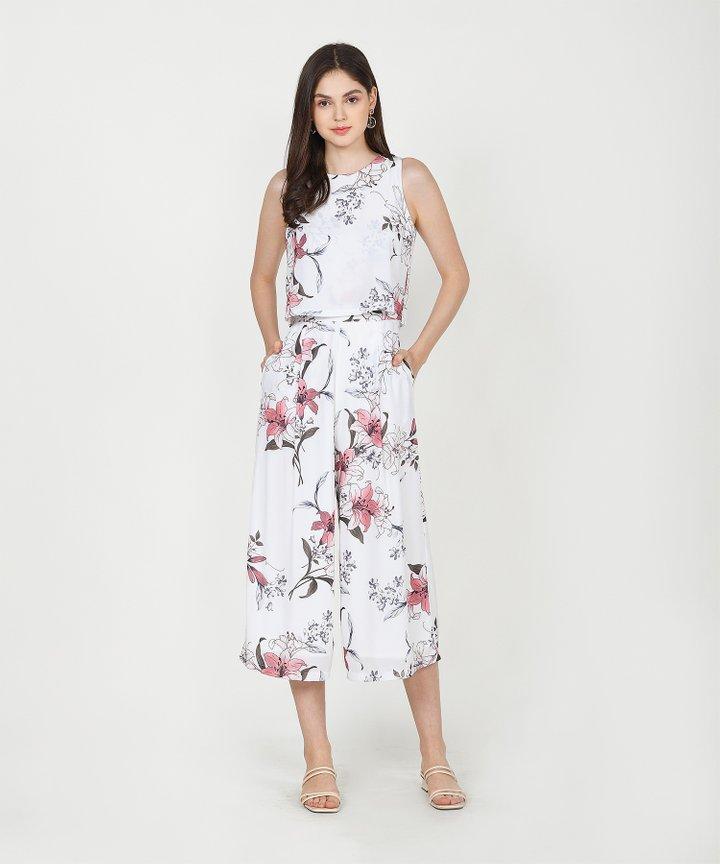Augustine Floral Culotte Jumpsuit - White