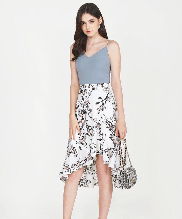 Lillie Floral Midi Skirt - White