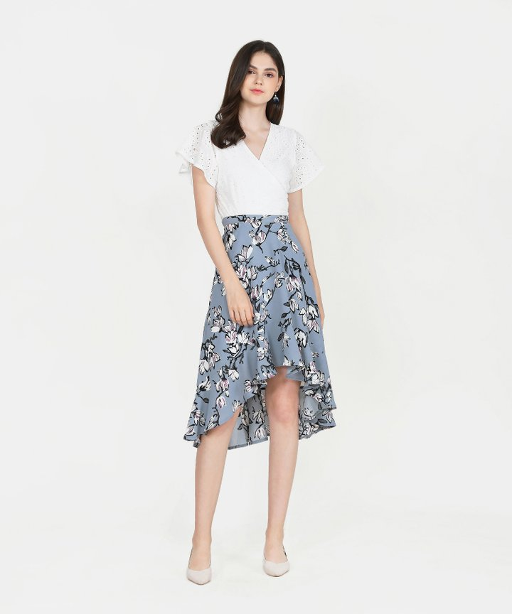 Lillie Floral Midi Skirt - Periwinkle Blue
