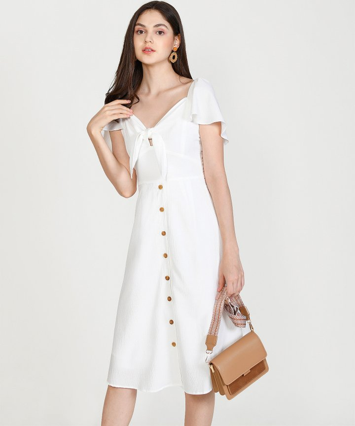Madeleine Button Down Midi Dress - White (Restock)