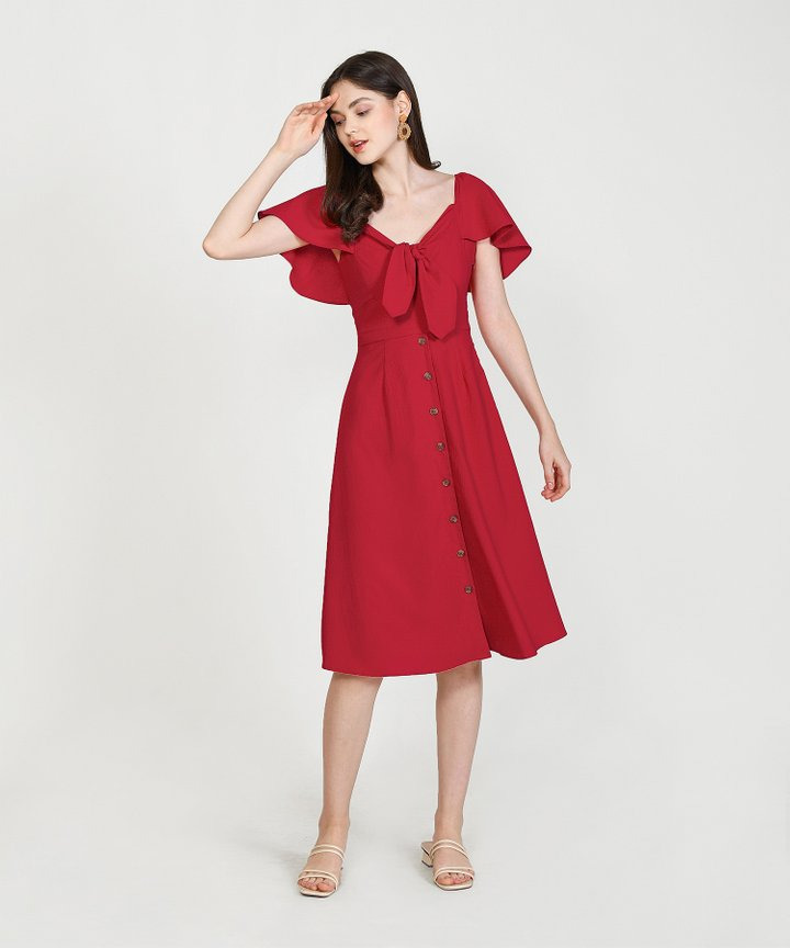 Madeleine Button Down Midi Dress - Scarlet (Restock)