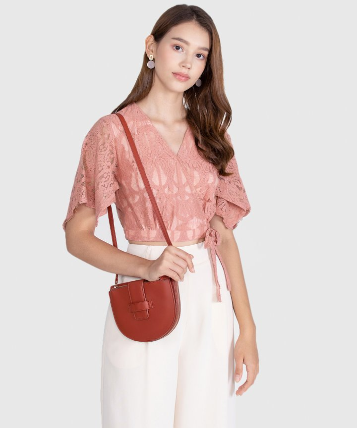 Annette Lace Cropped Blouse - Terracotta