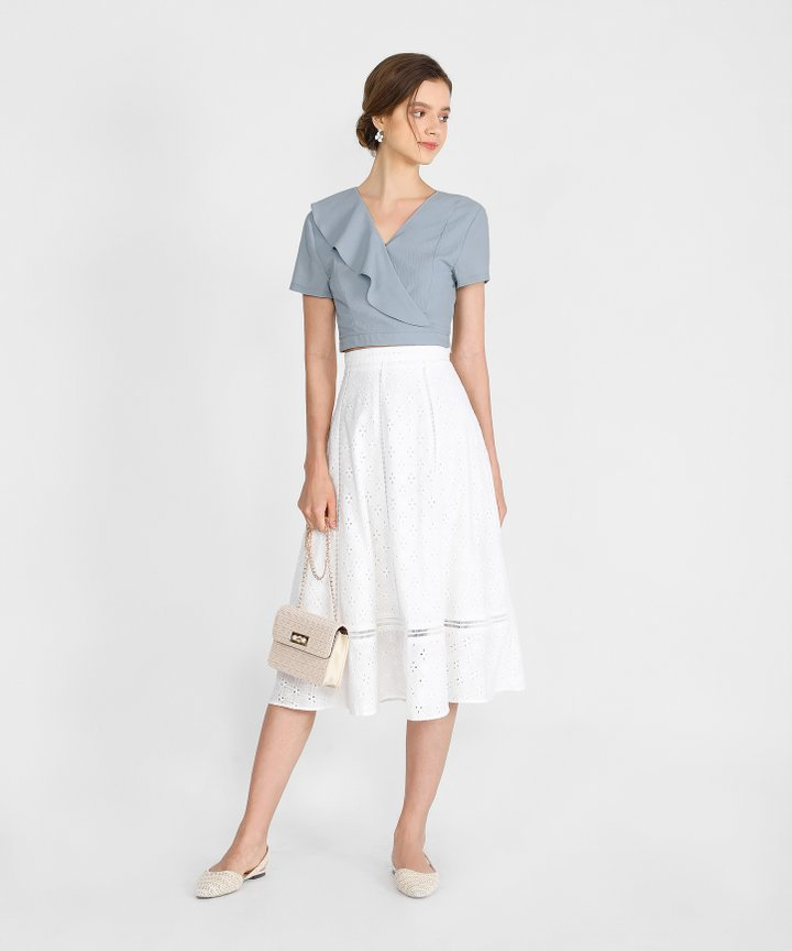 Renata Eyelet Midi Skirt - White