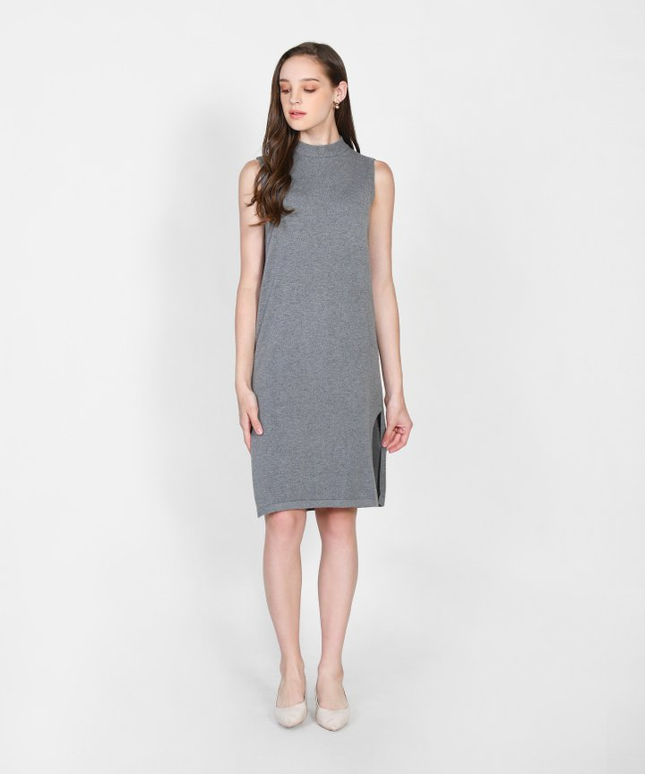 Elena Knit Midi Dress - Grey