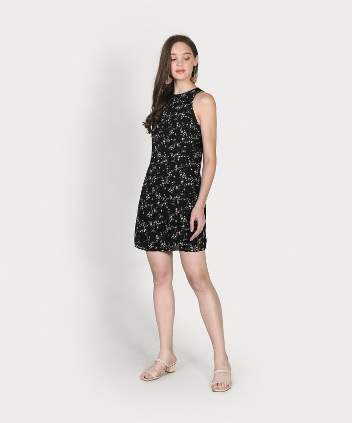 Haylen Floral Textured Shift Dress - Black