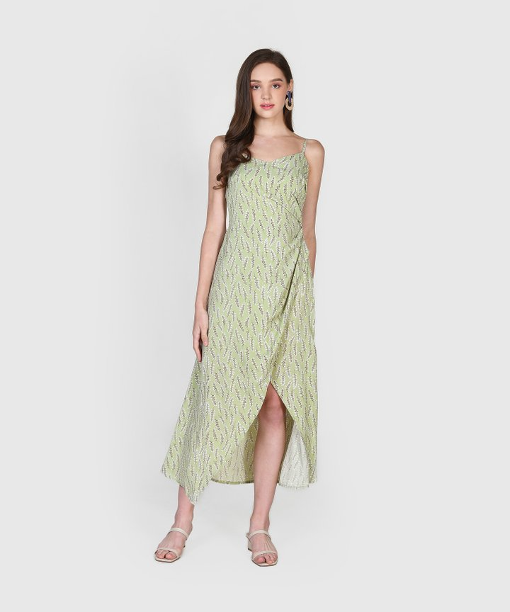 Diana Ruched Floral Maxi Dress - Sage