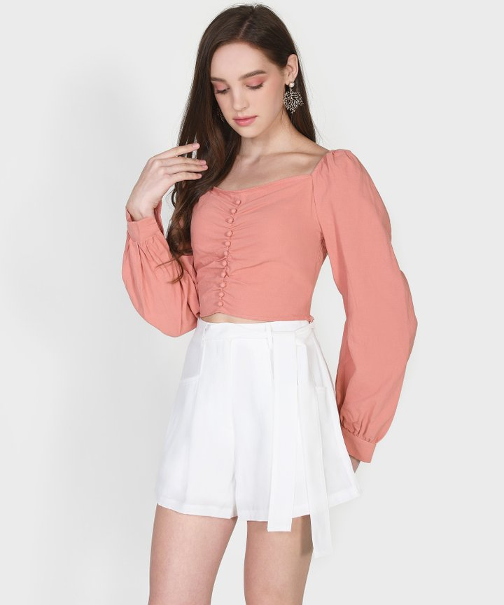 Henrietta Cropped Blouse - Coral Pink
