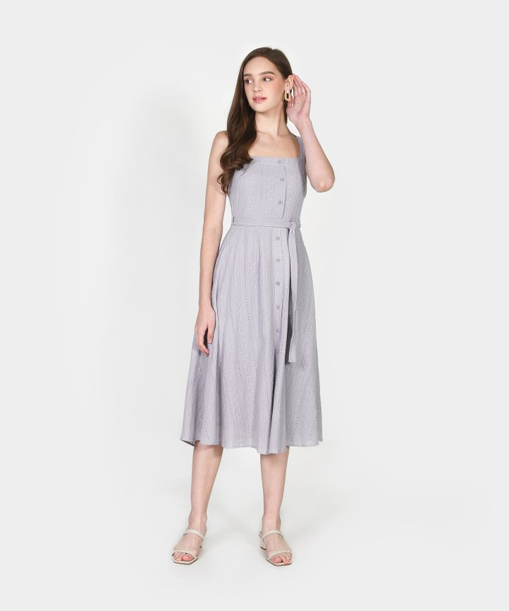 Trina Embroidered Midi Dress - Pale Periwinkle