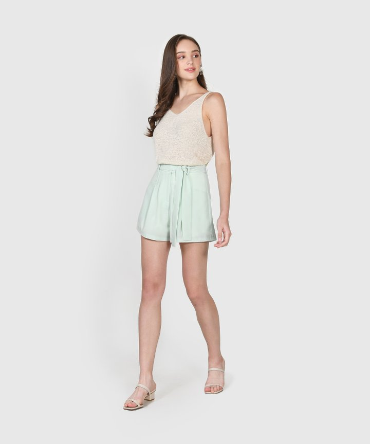 Elodie Belted Shorts - Pale Mint