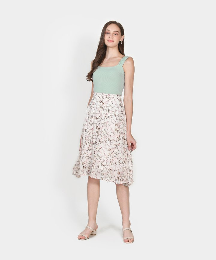 Etienne Floral Midi Skirt - Off-White