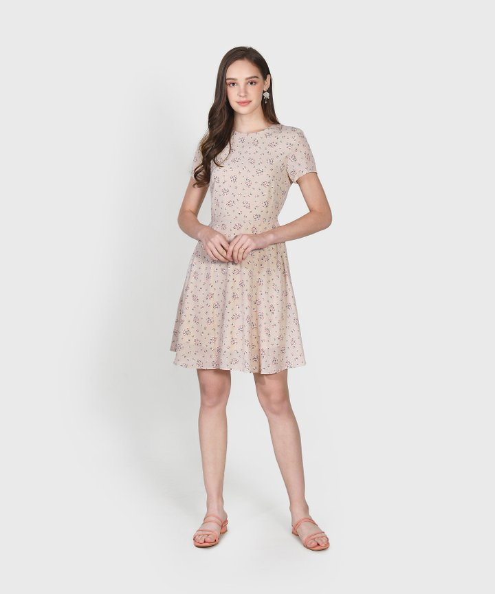Haiden Floral Dress - Pale Sand