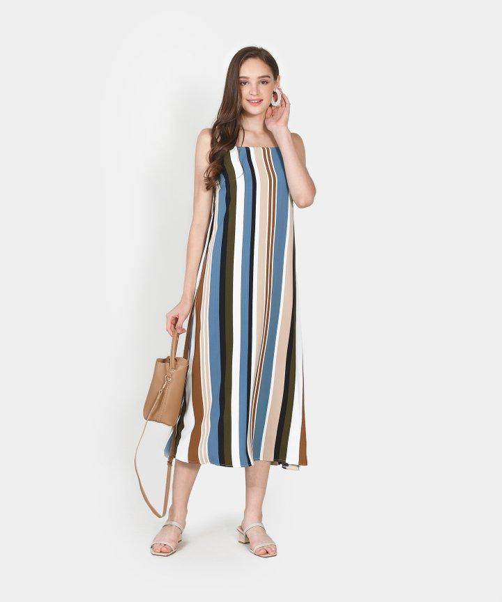 Nicolette Striped Maxi Dress- Lucerne Blue