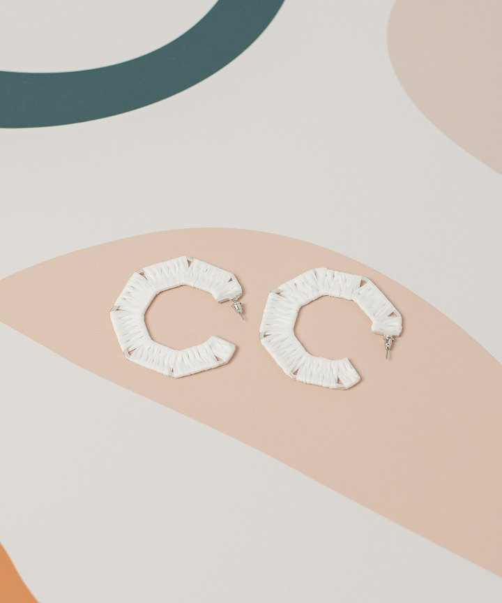 Piccolo Woven Hoop Earrings - White