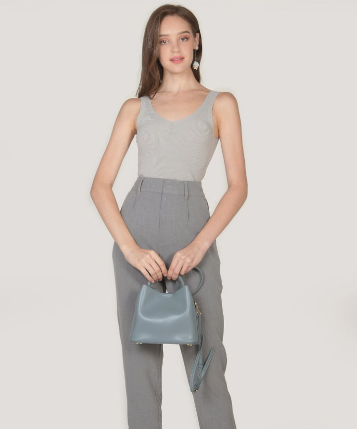 Amalfi Cropped Knit Tank - French Grey