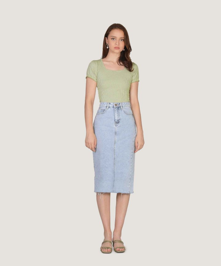 Anglia Gingham Cropped Top - Green (Restock)