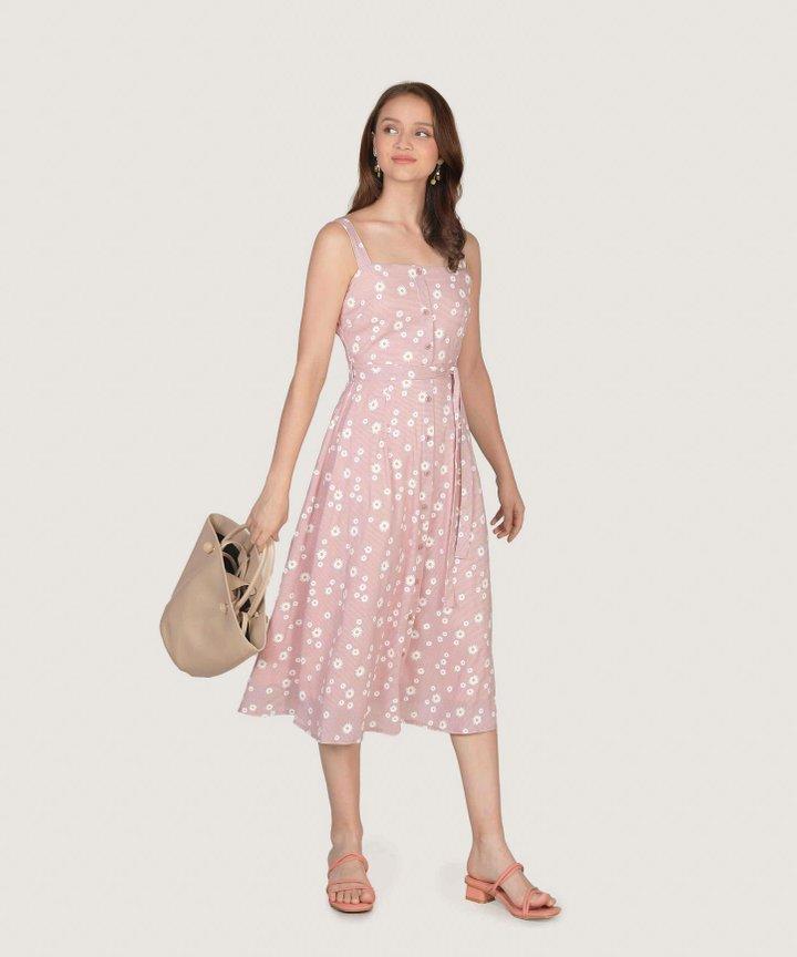 Smitten Floral Gingham Midi Dress - Pale Pink