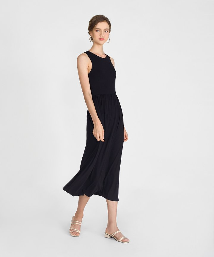 Winnie Cotton Maxi Dress - Black