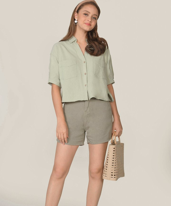 Carmel Denim Shorts - Laurel Green