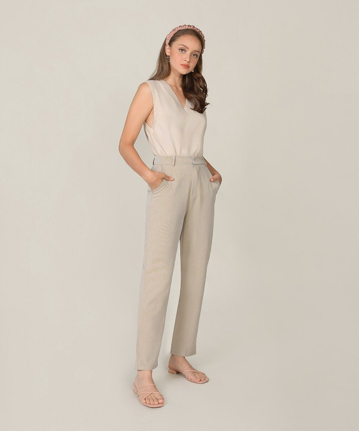 Emeraude Knit Vest - Pale Sand