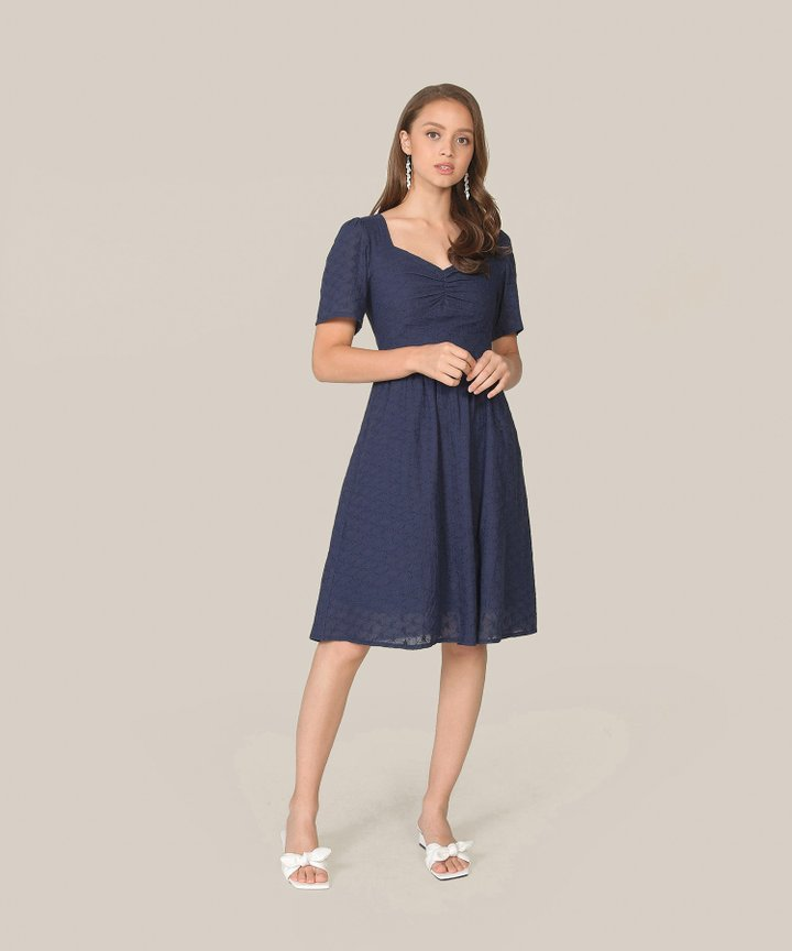 Escena Embroidered Midi Dress - Navy