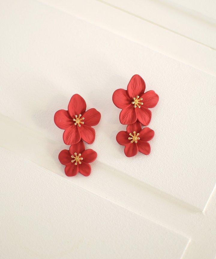 Hialeah Floral Tiered Earrings - Red