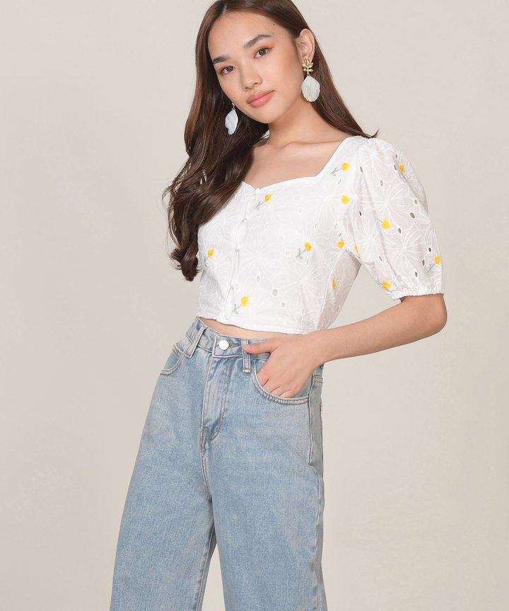 Ines Floral Embroidered Top - Daffodil