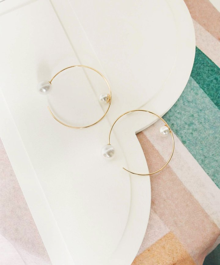 Kellis Pearl Hoop Statement Earrings