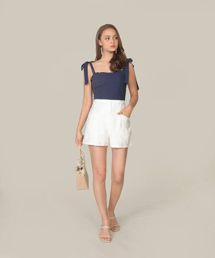 Lily-Rose Embroidered Top - Navy